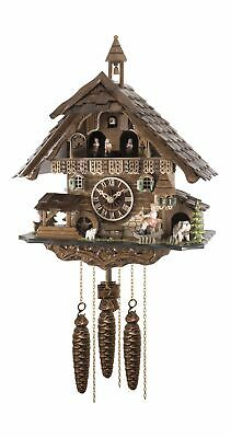 Quartz Cuckoo Clock Black forest house with music and dancers,.. EN 4835 QMT NEW