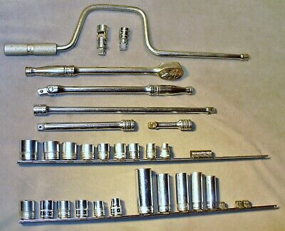 28 Snap-On Tool 3/8 Drive-Ratchet-Breaker Bar-Speed Wrench-Extensions-20 Sockets
