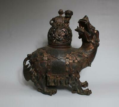 Large Antique Chinese Bronze Incense Burner carved Kylin