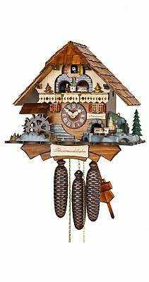 Cuckoo Clock Black Forest house with moving mill wheel an.. HH 671/8 V Zu RM NEW