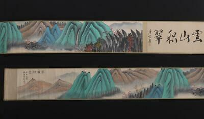 Fine Antique Chinese Hand-painting Scroll He Haixia Marked-landscape