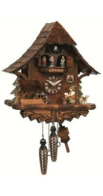Cuckoo Clock Black Forest house with moving beer drinker and mil.. EN 492 MT NEW