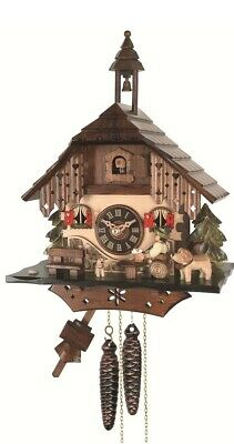 Cuckoo Clock Black Forest house with moving beer drinker EN 403 NEW