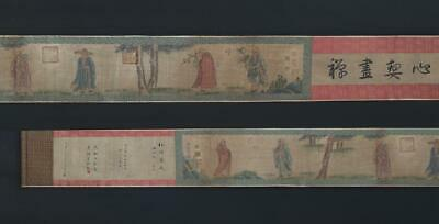 Fine Antique Chinese Hand-painting Scroll Guan Xiu Marked-Buddha