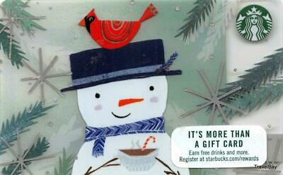 Starbucks Snowman With Cardinal Gift Card #6139 Collectible NEW NV - Pin Covered