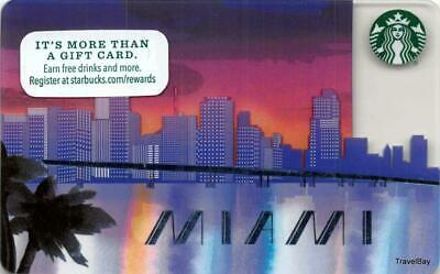 Starbucks Miami Skyline Gift Card #6125 Collectible NEW NV - Pin Covered