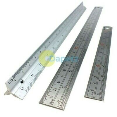 """6"""", 12"""" & Scale Ruler Set Small Large Measure Rule Metal Stainless Steel"""