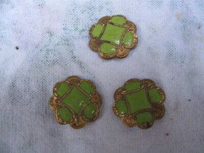 ANTIQUE ENAMEL/GILT BUTTONS.ART NOUVEAU.Light Green.3 X.