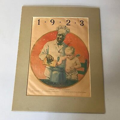 """1922 CREAM OF WHEAT """"STARTING THE NEW YEAR RIGHT"""" Edward V. Brewer Art Print Ad"""