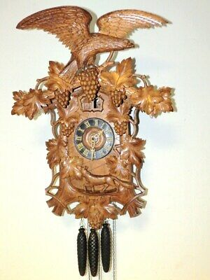 Large Original Black Forest Cuckoo Quail Clock  With 3 Weights