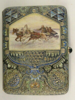 Antique Russian silver 88 cloisonne and pictorial en plein enamel cigarette case