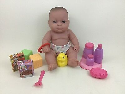 "Berenguer Full Body Vinyl 13"" Baby Doll Bath Time with Pretend Food Accessories"