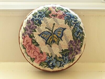 Charming English Vintage Round Floral Foot Stool~Tapestry~Needlework~C1960