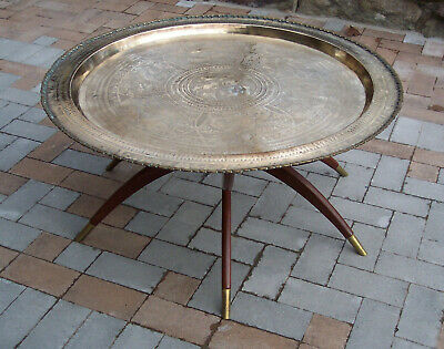 Vintage MCM Moroccan Round Brass Tray Coffee Table Spider Leg Folding Base 36""