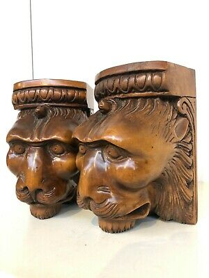WINTER SALE!! Stunning Pair of Lions Ugly faces Consoles /Carvings in wood
