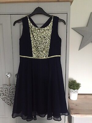 Girls monsoon dress Age 11 But More Like Age 10 Navy And Gold Worn Once RRP £60