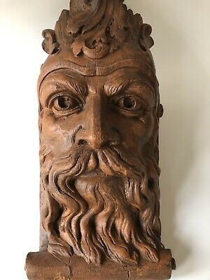 Figural Wall Corbel Sconce Shelf Architectural Plaster Wooden Nickel 77 Man Face
