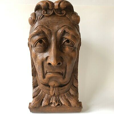 Figural Wall Corbel Sconce Shelf Architectural Plaster Wooden Nickel Nickle Face