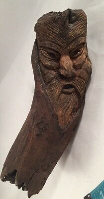 """Drift Wood Tree Carved Figurine Sculpture Wooden Wizard Old Man Face Tree 8"""""""