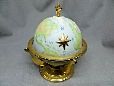 "3"" Globe of the World Paperweight Ceramic Bisque Figurine Desktop Earth Small"