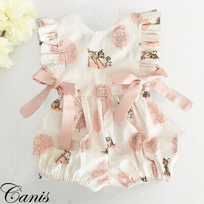 US Toddler Baby Girl Deer Clothes Romper Bodysuit  Jumpsuit One Piece Outfit Hot