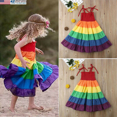 US Summer Kids Baby Girls Clothes Princess Party Dress Rainbow Strap Sundress#