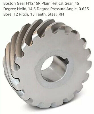 "Boston Gear, H1215-R Plain Helical Gear RH 45* Helix 14.5* 15 Teeth 5/8"" Bore"
