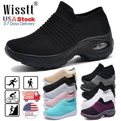Women's Air Cushion Sneakers Breathable Mesh Slip-On Running Sport Shoes Loafers