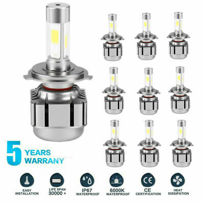 10PCS 4-Sides H4 LED Headlight Kit Bulbs Hi/Lo Beam 6500K 2600W 375000LM CF