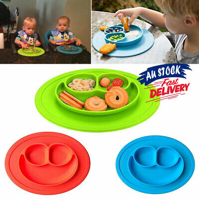 Silicone Suction Tray Cute Baby Table Kids Happy Food Placemat Bowl Mat Plate