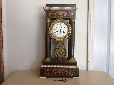 Antique French Portico mantle clock, working