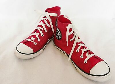 647666 C girls Converse All Star Hi Top Junior Canvas Shoes berry sparkle size 4