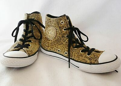 Girl Converse Chuck Taylor Hi Kids Youth Leopard Trainers 645172 suede size 2.5