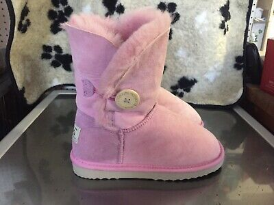 UGG Girls Pink Bailey Button Boots UK Size 2