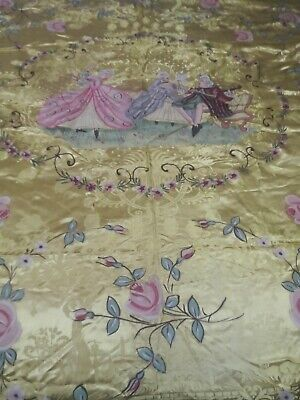 VINTAGE  HAND PAINTED ITALIAN S. LEUCIO BED COVER OR BEDSPREAD 1930s