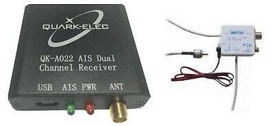 AIS Dual Channel Receiver (QK-A022) with USB output + Antenna Splitter for boats