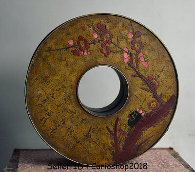 """6"""" Antique Old Chinese Copper Painting Dynasty Flower Jewelry box  jewel case"""