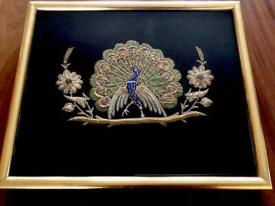 Vintage Hand Embroidered Raised Gold Silver Work PEACOCK Framed Picture