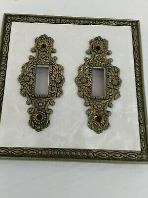 Mid century ornate double light switch brass and plastic cover