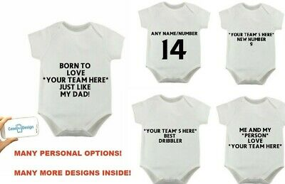 Personalised Football Bodysuit FULHAM'S No1 DRIBBLER JUST LIKE MY DADDY