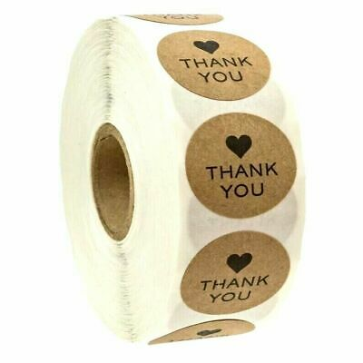 Round Thank You Hand Made With Love Labels Stickers Gift Food Craft Box Brown