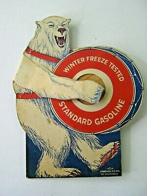 Rare Premium Standard Oil 1932 Winter Freeze Tested Bear Playing Drums 5 1/4""