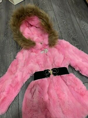 Used Ex.Girls Winter Real Fur Pink coat 5-6-7 year/age NEXT DAY SENDING RPR£189