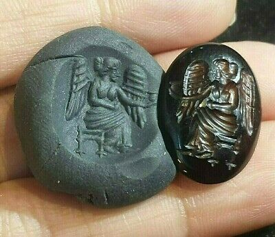 Ancient Agate Intaglio Big Wings Angel Holding Sacred Water Stamp For Ring