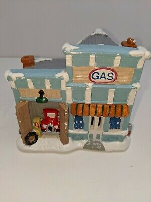 Vintage California Creations Gas Station Hand Painted Plaster Bldg Christmas