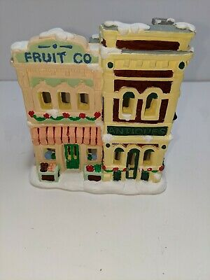 Vintage California Creations Fruit Co. Hand Painted Plaster Bldg Christmas