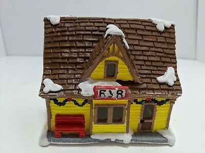 Vintage California Creations RR Station Hand Painted Plaster Bldg Christmas