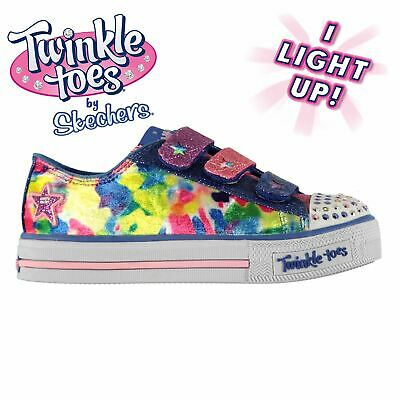 Kids Girls Skechers Shuffle Twinkle Toes Childs Trainers Light Up New