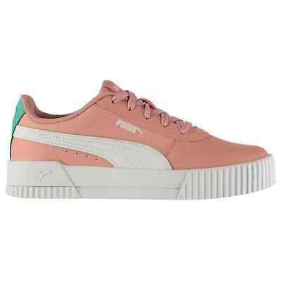Kids Girls Puma Carina Leather Trainers Junior Court Shoes Textured New