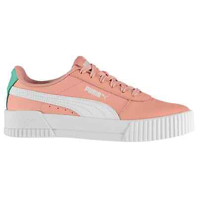 Kids Girls Puma Carina Leather Trainers Junior Court Lace Up New